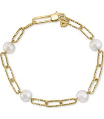 effy cultured freshwater pearl (7mm) large paperclip link bracelet in 18k gold-plated sterling silver