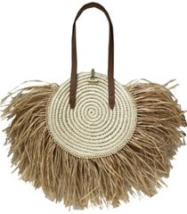 inc melania straw fringe circle tote, created for macy's