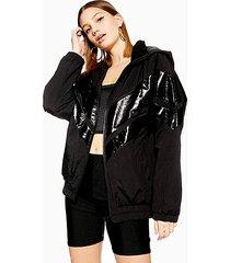 black patent windbreaker jacket - black