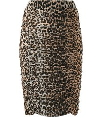 ganni leopard print ruched pencil skirt - neutrals