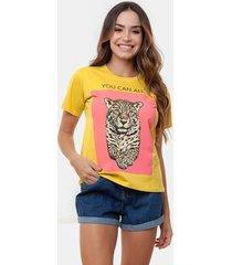t-shirt manola onça com amarelo multicolorido - kanui