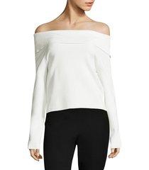 donna karan new york women's knit foldover off-the-shoulder sweater - black - size l