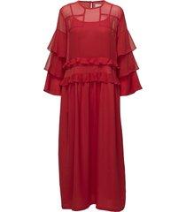agnes long maxi dress galajurk rood line of oslo