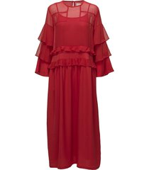 agnes long maxi dress galajurk rood line of oslo