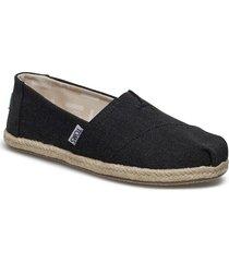 black washed canvas sandaletter expadrilles låga svart toms