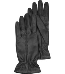 forzieri designer women's gloves, black leather women's gloves w/wool lining