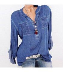 zanzea la manera tapas del cordón del remiendo botones de la camisa de manga larga de las mujeres blusa ocasional azul -azul