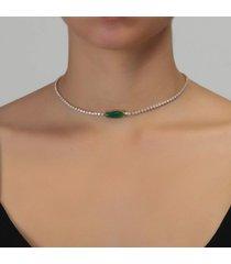 colar rosa pinhal choker riviera cristal navete verde esmeralda b. ouro 18k - dourado - feminino - dafiti
