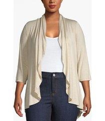 lane bryant women's drape front cardigan 26/28 oatmeal heather
