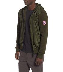 men's canada goose windbridge zip hoodie, size medium - green