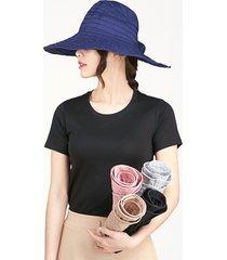 donna cappello estivo con tesa larga pieghevole con protezione anti-uv da outdoor guida spiaggia