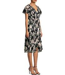 floral chiffon cascade sleeve dress