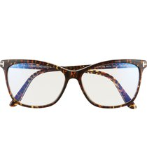 women's tom ford 55mm blue light blocking cat eye glasses with clip-on sunglasses lens - leopard havana/ clear/ black