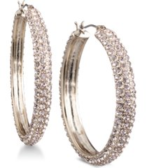 "dkny micro-pave 1 2/3"" hoop earrings, created for macy's"