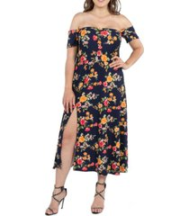 24seven comfort apparel women's plus size floral off shoulder dress