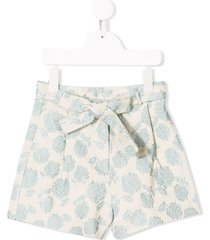 caffe' d'orzo embroidered rose shorts - blue
