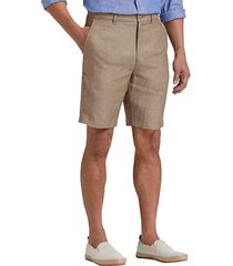 joseph abboud tan men's modern fit linen shorts - size: 42w