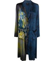 avant toi floral-print longline coat - blue