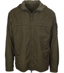 khaki green virgin wool blend logo hooded jacket