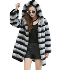 chinchilla very dark rex rabbit fur coat hoodie long womens fur coat fur jacket