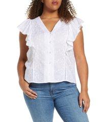 plus size women's caslon embroidered v-neck flutter sleeve shirt, size 3x - white