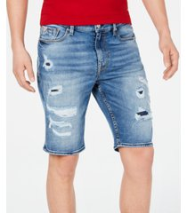 guess men's slim-fit stretch destroyed denim shorts