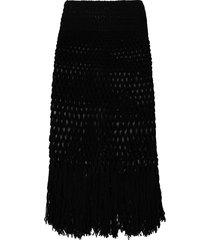 alanui handmade net crochet skirt - black