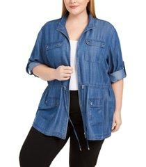 calvin klein plus size chambray utility jacket