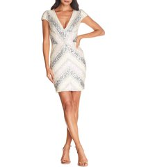dress the population zoe sequin embellished sheath, size x-large in off white multi at nordstrom