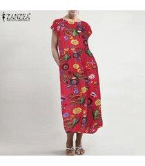 zanzea para mujer vestidos largos de la playa para señoras floral del verano del vestido maxi del tamaño extra grande -rojo