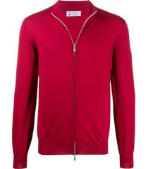 brunello cucinelli plain zip-up cardigan - red