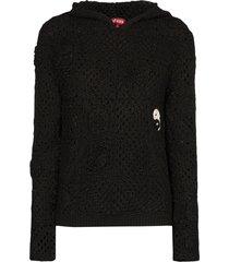 staud crocheted hoodie - black