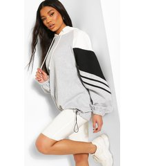 oversized colour block hoodie, grijs