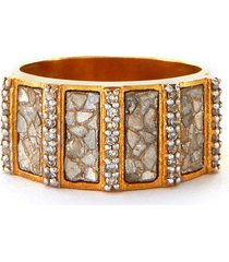 ajmer' champagne diamonds 18k gold vermeil resin ring