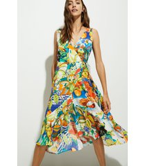 tropical beach dress - green - xl