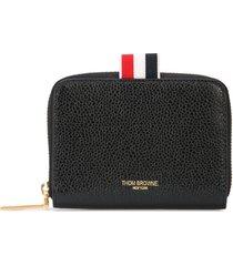 thom browne pebbled slim short purse - black