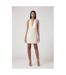 vestido curto bordado off white off white - 40