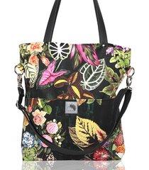 czarna torba w kwiaty z kieszeniami