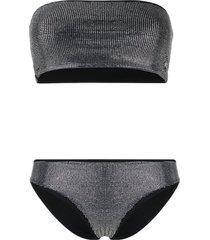 philipp plein crystal embellished bikini - black