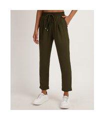 calça de pijama feminina reta com cordão verde