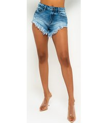 akira over my head high rise v cut frayed denim shorts