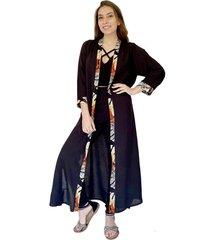 kimono largo negro aplicaciones flores natalia seguel