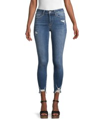 flying monkey women's mid-rise distressed-hem skinny jeans - medium dark - size 28 (4-6)