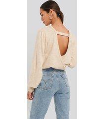 na-kd back overlap puff sleeve knitted sweater - beige