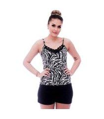 short doll ficalinda de blusa alça fina estampa animal print de zebra com renda guipir preta no decote e short preto.