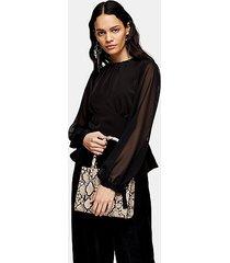 black chiffon sleeve blouse - black