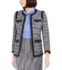anne klein contrast-trim tweed jacket