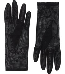 tender and dangerous embroidered sheer gloves - black