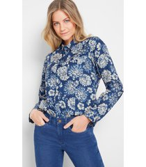 gedessineerde blouse, lange mouw