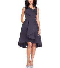adrianna papell asymmetrical mikado fit & flare dress